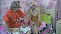 Horny blonde teen makes an old man cum