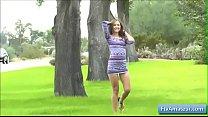 Cutie amateur teen Brielle show her bald pussy in public