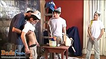 Cute boys and a daddy make a heated painting orgy Thumbnail