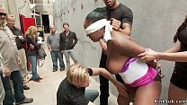 Natural busty ebony banged in public alley