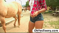 Teen cowgirl Gabriella Ford rides a massive dic...