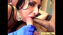Cock hungry brunette slut gets her ass and wet ...