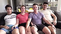 TEEN ORGY - big cock splits holes and 1st time ...
