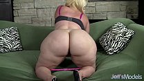 Plus-sized blonde Masseratie Monica dildos hers...