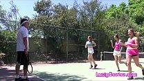 Tennis coach cocks kinky teens on the court