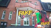 Fake Hostel Furious threesome with squirting orgasms and huge cock