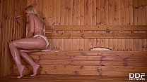 Serbian sauna lover Cherry Kiss sucks a Dick in...