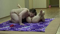 A fat lesbian sniffs panties and licks her girl...