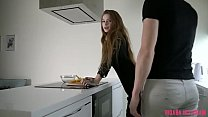 Fucked a hot tattooed teen right in the kitchen while cooking and she swallowed cum!
