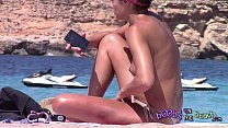 Italian sunbathing topless bikini crack wedgie