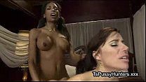 White babe sucks black dick of tranny Thumbnail