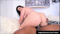 Cuban BBW Angelina Castro Sits On Big Black Coc...