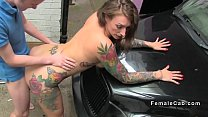 Female cab driver watches dude wanking