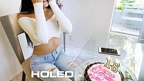 HOLED Happy birthday anal fuck and creampie with brunette Adria Rae