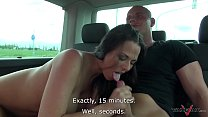 Busty running brunette convinced to come in van...