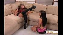 Cutie worships mistress in latex boots and high... Thumbnail