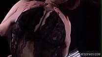 Sayuki Kanno presses her big boobs on glass