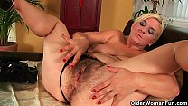 Furry moms fill their hairy sex hole with finge...
