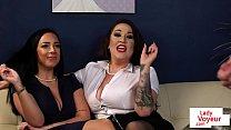 Curvy CFNM femdoms instructing sub to jerkoff