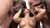 Interracial anal and pussy fuck babe gangbang w...
