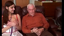 young brunette first time debut with grandpa