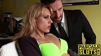 Sweet blonde MILF Brittany Bardot fingered hard...