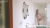 Stepsiblings sucking and enjoy fucking in the shower room Thumbnail