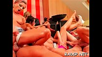 Frisky lesbian babes fingering and fisting one another at party