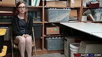 Nerdy teen thief gets caught and fucked by secu...