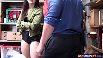 Petite teen shoplifter pays for the goods with ...