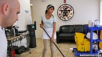 BANGBROS - The new cleaning lady swallows a load! Thumbnail