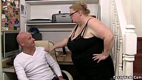 Big tits woman in glasses rides dick