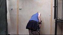 Lesbian domination of Satine Spark in public humiliation and voyeur bdsm