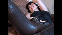 Horny girl in brown leather pants masturbating ...