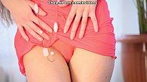 Erotic red lingerie demonstration from sweet do...