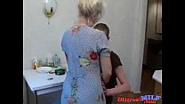 Grandma fucks her grandson in the kitchen