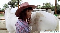 Hot and sexy amateur cowgirl rides cock for cash in an outdoor sex Thumbnail