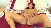British milf Beau Diamonds plays with her nylon...