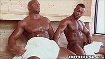 Big Sexy Beefcake Ebony Guys Fucking in the Ste... Thumbnail