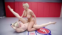 Hot lesbian wrestling and pussy eating with Dee...
