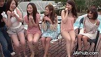JAVHUB Hardcore Japanese orgy with five sexy la...