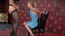 Oral sub throats BDSM couple in kinky trio