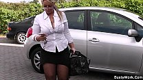 Working blonde bbw in stockings spreads legs