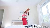 Busty redhead stepmom in red lingerie fucks her stepson