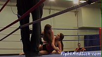 Busty lezzies wrestling in a boxing ring Thumbnail