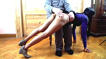 Red ass - spanking home in the livingroom