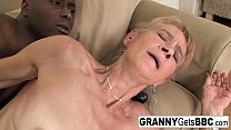 Old blonde gets a nice anal creampie from a BBC thumbnail