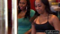 Black couple horny 3way with ebony babe