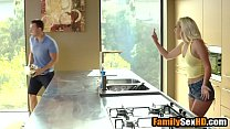 Step brother rips sister's yoga pants off to fu...
