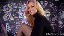 Sexy Milf Julia Ann Sweater Strip Tease & Solo!